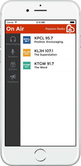 Screenshot of Passion Radio web player on an iPhone 6